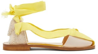 Álvaro González X Thierry Colson Teresa Wrap-tie Canvas Sandals - Yellow White