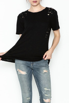 Honey Punch Round Neck Distressed Tee