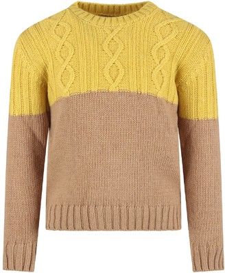 Dondup Yellow And Camel Kids Sweater With Iconic D