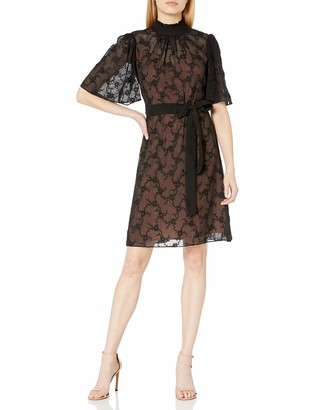 Rebecca Taylor Women's Short Sleeve Vine Embroidery Dress