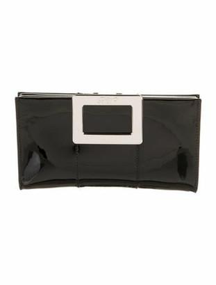 Roger Vivier Patent Leather Flap Clutch Black