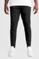 boohoo Mens Black Big And Tall Skinny Jeans With Raw Hem, Black
