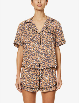 Rails Darcie leopard-print woven pyjama set