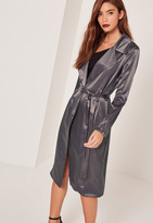 Missguided Satin Duster Coat Grey