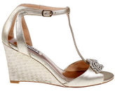 Badgley Mischka Nedra II Embellished Metallic Leather Wedge Heel Sandals