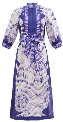 Zimmermann Lulu Tie-dye Belted Linen Kaftan - Blue Print