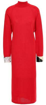 Emilio Pucci Printed Satin Twill-trimmed Wool Midi Dress