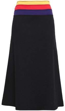Striped Stretch-knit Midi Skirt