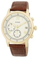 GUESS Stainless Steel and Leather Strap Watch