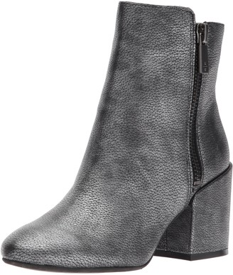 Kenneth Cole New York Women's Rima Bootie with Double Zip Block Heel Leather Boot