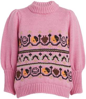 Ganni Hand Knit Wool Puff Sleeve Sweater