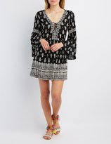 Charlotte Russe Floral Lattice Bell Sleeve Dress