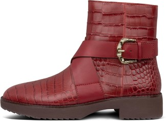 FitFlop Helmi Croc-Embossed Leather Ankle Boots
