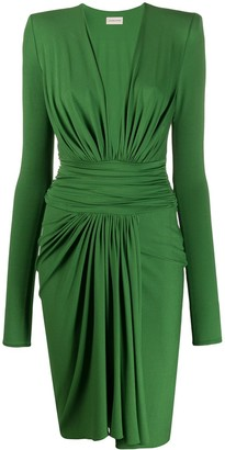 Alexandre Vauthier V-Neck Pleated Dress