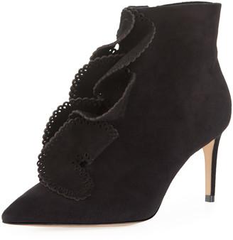 Sophia Webster Soleil Mid-Heel Ruffled Ankle Boots
