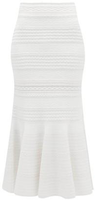 Alexander McQueen Fluted-hem Boucle-knitted Midi Skirt - Womens - Ivory