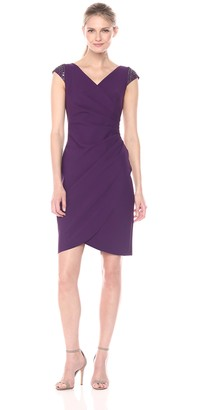 Alex Evenings Women's Short Sheath Dress with Beaded Sleeves