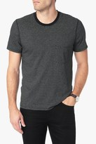 7 For All Mankind Striped Ringer Tee In Black Ecru Feeder Stripe