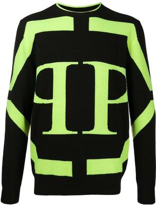Philipp Plein LS Hexagon branded jumper