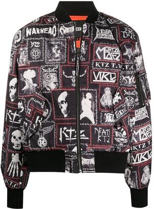 Kokon To Zai Monster printed patch bomber jacket