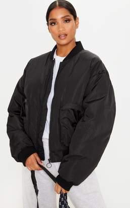 PrettyLittleThing Black Pocket Zip Up Bomber Jacket