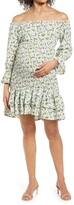 Thumbnail for your product : Savi Mom Daisy Flora Off the Shoulder Ruffle Maternity Dress