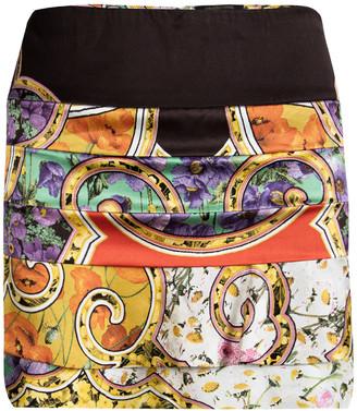 Roberto Cavalli Multicolor Floral Printed Silk Tiered Mini Skirt S