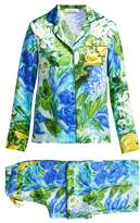 Richard Quinn Watercolour-print Silk-satin Pyjamas - Womens - Blue Print