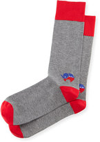 Jonathan Adler Red-Elephant Election Socks, Red/Gray