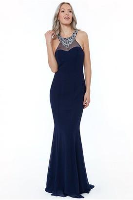 Linzi Goddiva Navy High Neck Embellished Maxi Dress