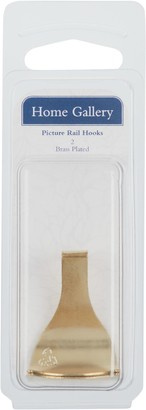 Home Gallery Brass Plated Picture Rail Hooks, Pack of 2