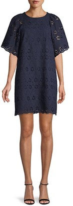 Avantlook Scallop-Trim Embroidered Eyelet Mini Dress