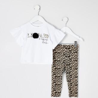 River Island Mini girls White print pom pom T-shirt outfit