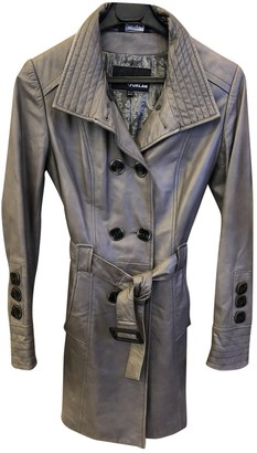 Non Signé / Unsigned Non Signe / Unsigned Grey Leather Trench Coat for Women