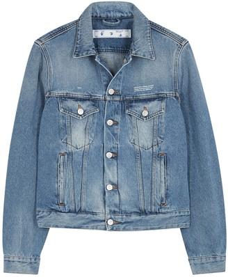 Off-White Blue logo-embroidered denim jacket