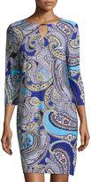 Neiman Marcus 3/4-Sleeve Printed Caftan Shift Dress, Blue Print