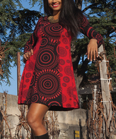 Aller Simplement Red & Black Medallion Color Block Dress