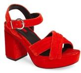 Topshop Women's Lush Velvet Platform Sandal
