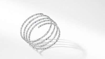David Yurman Davidyurman Paveflex Coil Bracelet With Diamonds In 18K White Gold