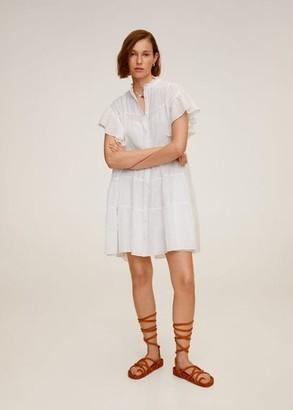 MANGO Ruffled sleeve dress off white - 6 - Women