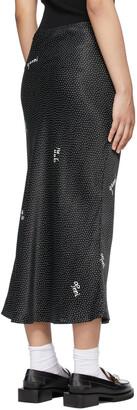 Ganni Black Viscose Satin Midi Skirt
