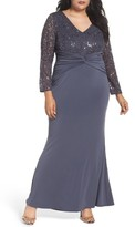 Marina Plus Size Women's Sequin Lace & Jersey Mermaid Gown