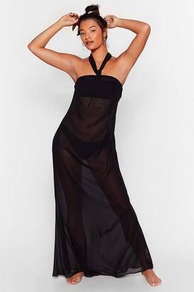 Nasty Gal Womens Shell We Dance Chiffon Cover-Up Dress - Black