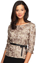 Alex Evenings Belted Sequined Top