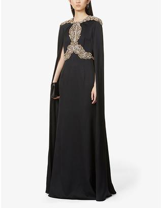 Alexander McQueen Gemstone-embellished cape-panel silk-satin gown