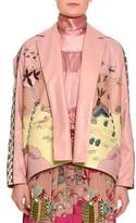 Valentino Jungle of Delight Embroidered Leather Jacket, Blush/Multi