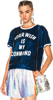 Ashish Your Wish is My Command T-Shirt in Blue,White.