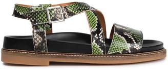 Ganni Sigga Snake-effect Leather Slingback Sandals