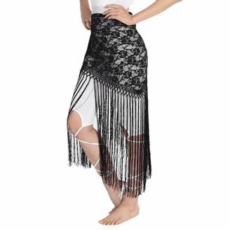B Baosity Ladies Long Fringe Tassels Belly Dance Lace Hip Scarf Wrap Belt Dancer Skirt Stage Performance Accessory - Black as described