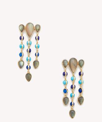 Sole Society Women's Chandelier Earrings 12K Soft Polish Gold/dark Blue Opal/turquoise/lapis One Size From